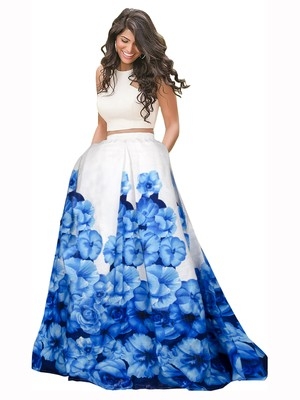 d0a8ac0a98 Blue and white banglori satin silk printed designer lehenga choli -  Vastrang - 2486225