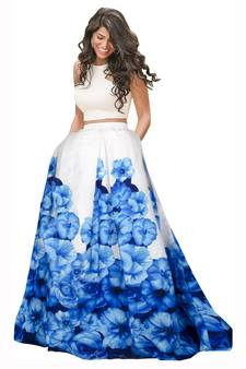 d175aea5b7a Blue and white banglori satin silk printed designer lehenga choli