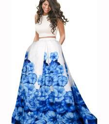 Blue and white banglori satin silk printed designer lehenga choli