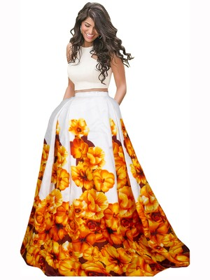 b2ae8ec4c1 Yellow and white banglori satin silk printed designer lehenga choli -  Vastrang - 2486227