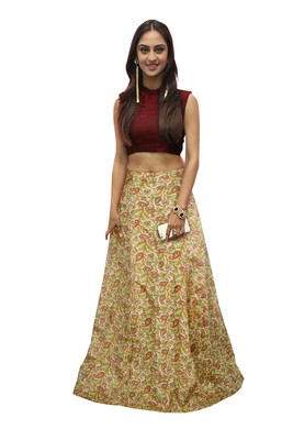 6d0394de66 Red and multicolor banglori satin silk printed designer lehenga choli