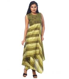Green printed silk kurtas-and-kurtis