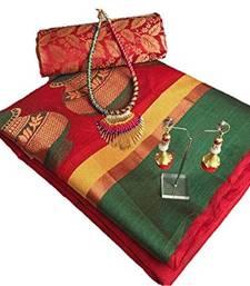 Buy Red woven tussar silk saree with blouse art-silk-saree online