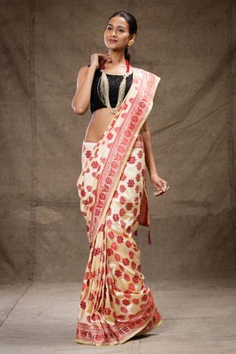 Red beige silk saree