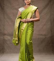 Buy Green tussar silk saree hand-woven-saree online