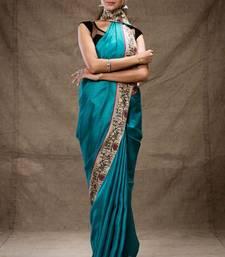 Buy Aqua green and brown tussar silk saree hand-woven-saree online