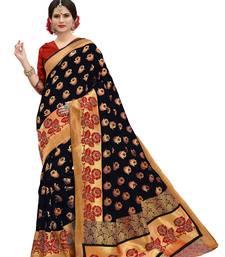 Multicolor banarasi art silk saree with blouse