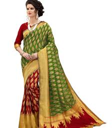 Buy Multicolor woven banarasi art silk saree with blouse wedding-saree online
