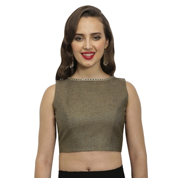 Bronze Polyjute Mirror lace on the neck and back stitched blouse