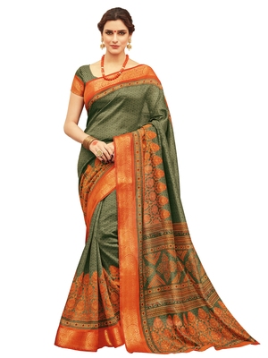 Olive printed silk saree with blouse