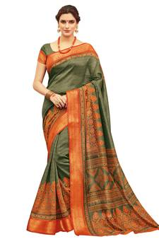 899db0175ed Olive printed silk saree with blouse