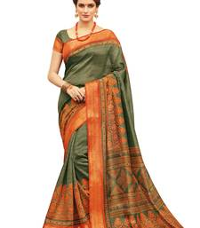 Buy Olive printed silk saree with blouse art-silk-saree online