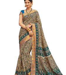 Buy Beige printed faux  silk saree with blouse art-silk-saree online