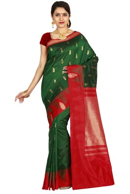 Green hand woven pure silk saree with blouse