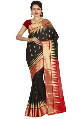 Black hand woven pure silk saree with blouse