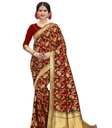 Red banarasi art silk saree with blouse