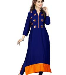 Buy Blue hand woven rayon party wear kurtis party-wear-kurtis online