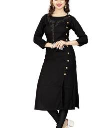 Buy Black hand woven rayon long kurtis long-kurtis online