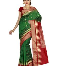 Buy Green hand woven pure silk saree with blouse silk-saree online