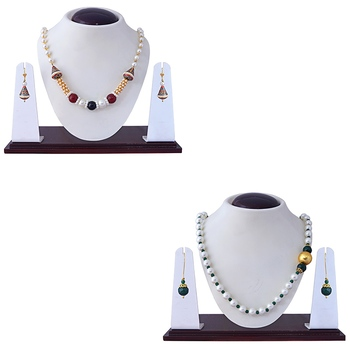 Ethnic meenakari kundan gold plated brass combo pendant necklace set for women