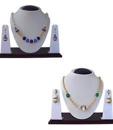Buy Ethnic meenakari kundan gold plated brass combo pendant necklace set for women jewellery-combo online