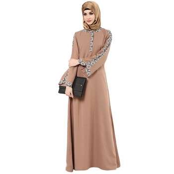 e6a5db3da4865 Peach black print detailing moss crepe arab islamic abaya - House of ...