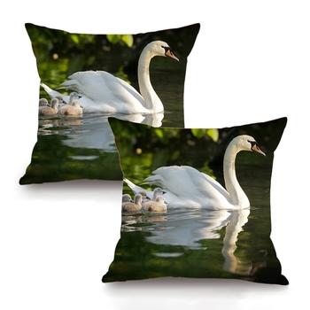 Swan Digital Printing Cushion Cover (16 x 16 Inch)