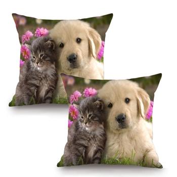Cute Animals Digital Printing Cushion Cover (16 x 16 Inch)