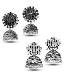 Oxidized Silver Plated Round Shape And Lotus Shape Combo Set of 2 Earrings For Women