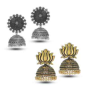 Oxidized Silver Plated Round Shape And Oxidized Gold Plated Lotus Shape Combo Set Of 2 Earrings