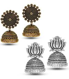 Oxidized Gold Plated Round Shape And Oxidized Silver Plated Lotus Shape Combo Set of 2 Earrings
