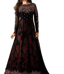 Buy Black embroidered georgette salwar anarkali-salwar-kameez online