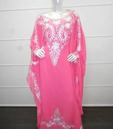 Pink aari work chiffon polyester islamic party wear festive farasha