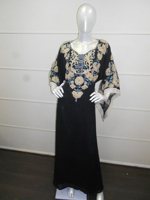 Black aari work chiffon polyester islamic party wear festive kaftan