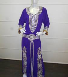 Purple aari work chiffon polyester islamic party wear festive kaftan