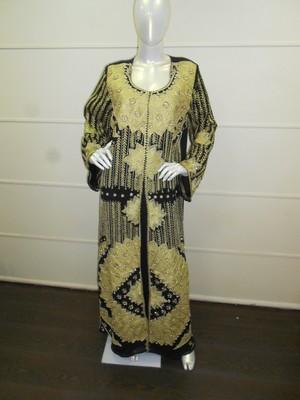 Black aari work chiffon polyester islamic party wear festive kaftan