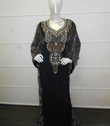 Black zari work chiffon polyester islamic party wear festive farasha