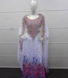 White zari work chiffon polyester islamic party wear festive farasha
