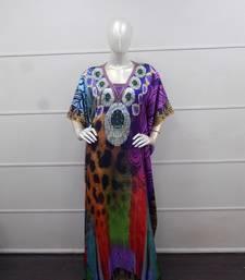 Multi color printed chiffon polyester islamic party wear festive farasha
