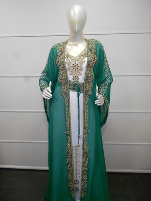 Green and white zari work chiffon polyester islamic party wear festive kaftan with jacket