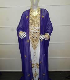 Blue and white zari work chiffon polyester islamic party wear festive kaftan with jacket
