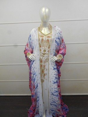 White zari work chiffon polyester islamic party wear festive kaftan with jacket