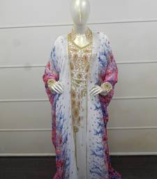 White zari work chiffon polyester islamic party wear festive kaftan with jacket