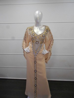 Beige zari work chiffon polyester islamic party wear festive kaftan