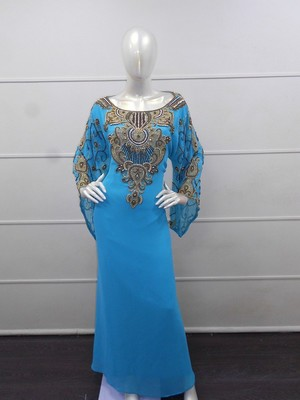Blue zari work chiffon polyester islamic party wear festive kaftan