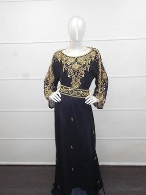 Black zari work chiffon polyester islamic party wear festive kaftan