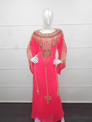 Pink zari work chiffon polyester islamic party wear festive kaftan