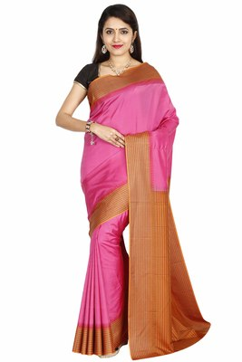 Light Pink Hand Woven Pure Silk Saree With Blouse