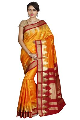 Gold hand woven pure silk saree with blouse