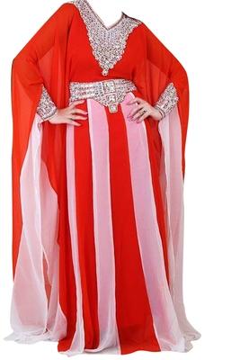 Red & White Zari Stone Work Georgette Islamic Style Beads Embedded PartyWear Farasha